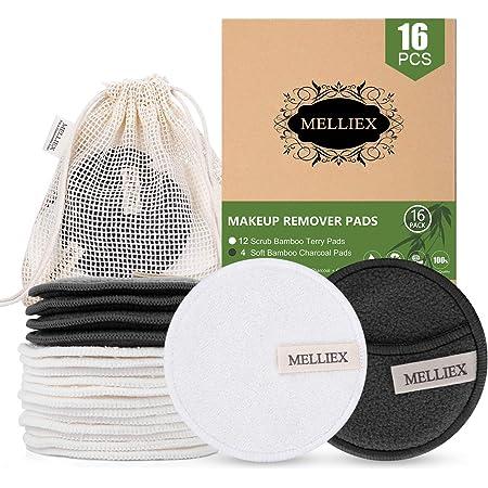 Discos Desmaquillantes Reutilizables de Algod/ón Ecol/ógico y suaves Fibras de Bamb/ú Lavables Bolsa para su lavado y transporte 16 Almohadillas Eco-friendly Resistentes Aptos para todo tipo de piel