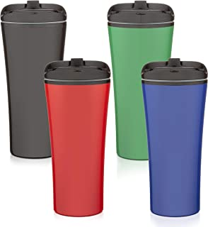 Set of 4 color coffee cup Insulated Travel Car Mug   Spill LEAK Proof   Reusable coffee cups with lids   Insulated Coffee & Tea mug Keeps Hot or Cold   16 oz   great for travel Liquor Sip.