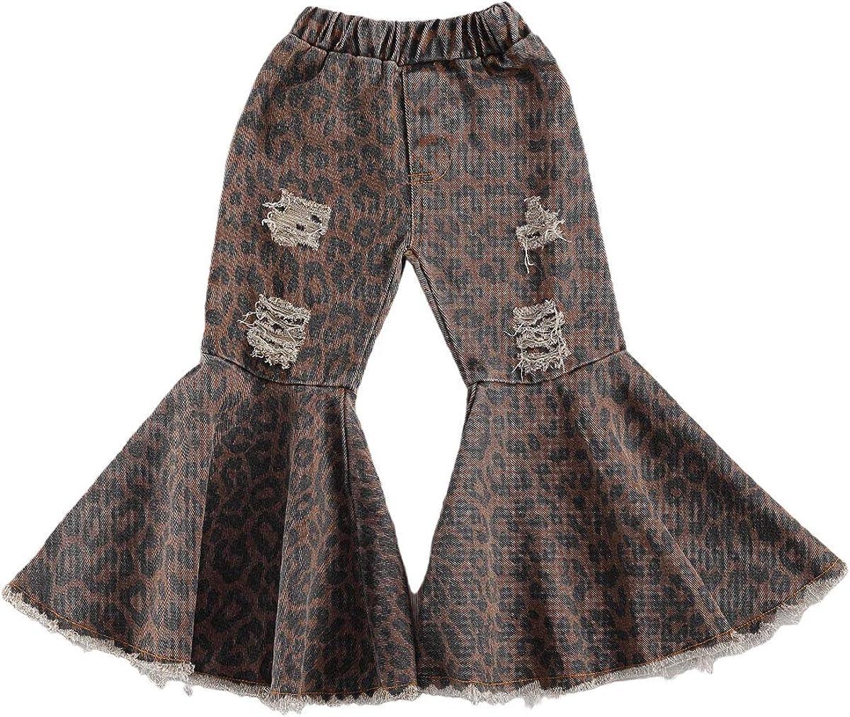 OAKFashion Toddler Little Kid Girls Ruffle Leggings Leopard Print Bell Bottom Flare Pants Girls Stretchy Trousers 2-7T