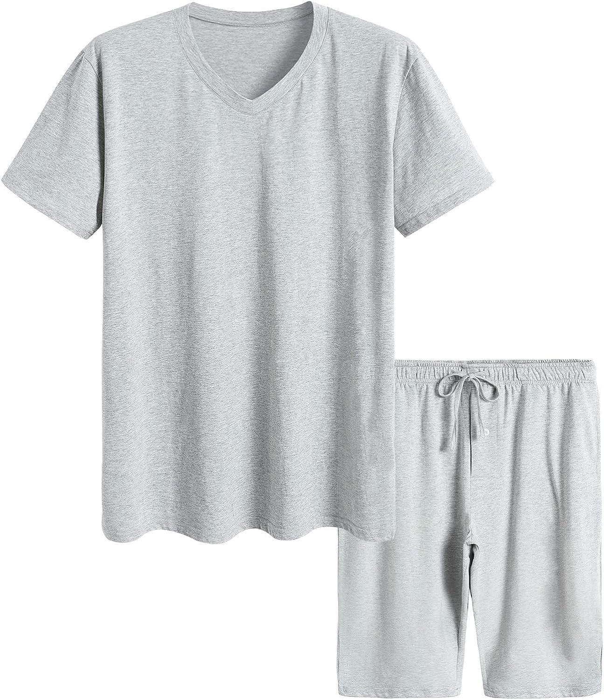 Latuza Men's Cotton Shirt with Shorts Pajama Set Knit Lounge Set