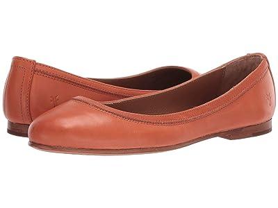 Frye Carson Ballet (Sunset Orange Polished Soft Full Grain) Women