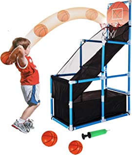 Tuko Kids Basketball Hoop Arcade Board Game Toy - Toddler Toys Outdoor/Indoor Basketball Hoop Shooting Training System with Basketball for Boy Gift (Basketball Hoop)