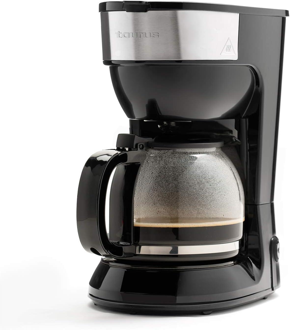 Taurus Capuleto - Cafetera de goteo, 1.5l, hasta 15 tazas, jarra cristal, antigoteo automático, placa calefactora mantén café caliente, fácil uso, filtro permanente-lavable, rápida, 900W, negra, inox