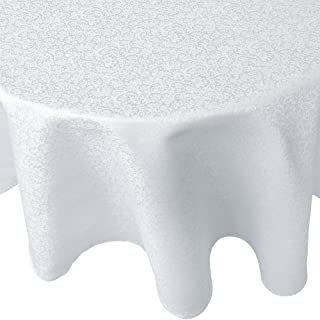 R.LANG Tablecloth Oval 60 x 120-inch Spillproof Jacquard Tablecloth Bleach White