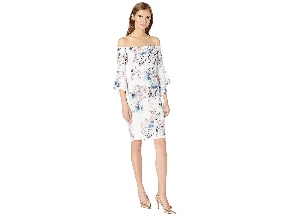 Bebe Off the Shoulder Bell Sleeve Dress (Ivory Multi) Women