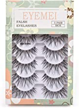 False Eyelashes 5 Pairs Multipack Synthetic Fiber Material 3D Lashes Natural Reusable Lashes for Professional Used for Women Girls by EYEMEI
