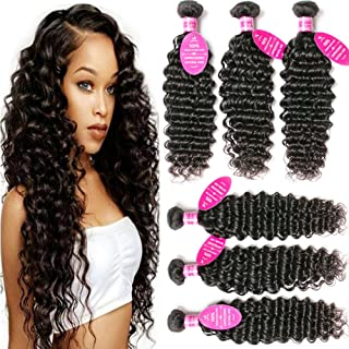 Younsolo Deep Wave 3 Bundles (8 10 12) 8A Grade 100% Unprocessed Virgin Remy Brazilian Human Hair Extension Deep Wave Bundles Natural Color Can Be Dyed and Bleached