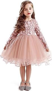 فستان عيد ميلاد غير رسمي للفتيات الصغيرات بأكمام طويلة مع تنورة توتو من TTYAOVO