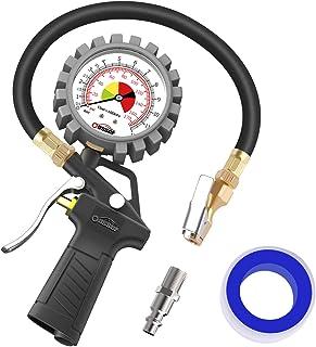 oasser Manómetro Presión Neumáticos 0-12bar Manómetro Inflador Neumáticos para Compresor Medidor Presión Neumáticos Profesional Portátil para Ruedas de Coche Moto Bicicleta y Camión 0-170psi P5A