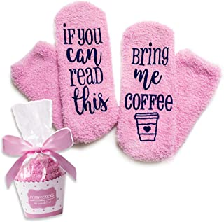 Luxury Coffee Socks with Cupcake Gift Packaging: If You Can Read This Bring Me Coffee Sock - Funny Coffee Lovers Gifts for Women Under 20 Dollars -Top Novelty Christmas Present Idea for Mom