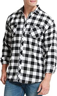 Men's Flannel Plaid Long Sleeve Casual Button Down Shirts