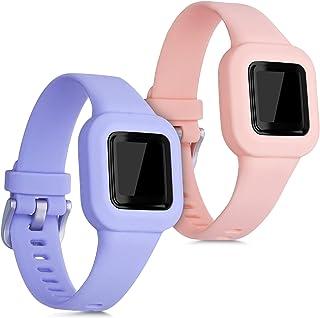 kwmobile Pulsera Compatible con Garmin Vivofit jr. 3-2X Correa de TPU para Reloj Inteligente - Rosa Palo/púrpura Pastel