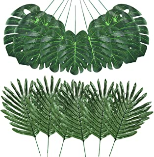Auihiay 48 Pieces 4 Kinds Artificial Palm Leaves with Faux Stems Tropical Plant Leaves Monstera Leaves Safari Leaves for Hawaiian Luau Party Jungle Beach Table Leave Decorations