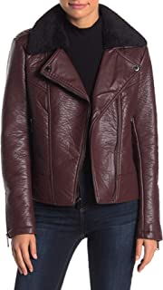 French Connection Women's Faux Fur Collar Faux Leather Jacket, Wine, X-Small