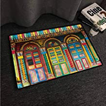 VIVIDX Washable Doormat,Colorful,Scenes from Singapore,Easy Clean Rugs,16