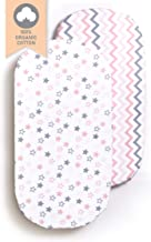 Sofia Amber Baby Bassinet Sheets Oval Fitted - Bassinet Sheet Set 2 Pack – Bassinet Fitted Sheets – Oval Bassinet Sheets Girl 100% Organic Cotton – Compatible with Halo Chicco Miclassic Uppababy