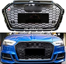 HOUADDY Black Gloss Frame RS3 Look ABS Grill for Audi A3 S3 Hex Honey Mesh Front Bumper Sport Edition Racing Grille Radiator 2017-2019