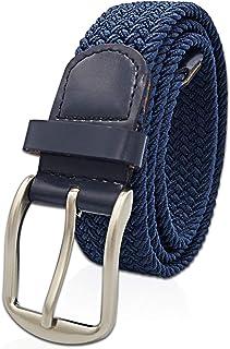 Glamexx24 Cinturón de cuero elástico Unisex Cinturón elástico trenzado Cinturón de cuero elástico para hombres y mujeres
