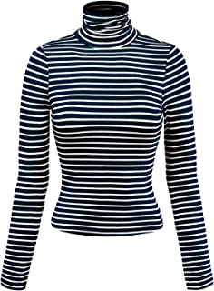 MixMatchy Women's Solid Tight Fit Lightweight Long Sleeves Mock Neck Top