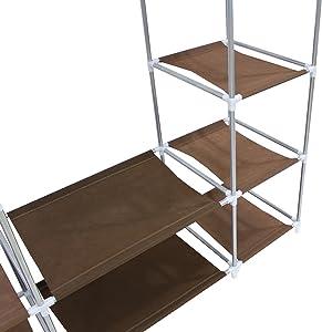 Todeco - Armadio, Guardaroba - Materiale: Tubi in acciaio inossidabile - Tipo di chiusura: Parti in velcro e zip - 3 porte, 172 x 134 x 43 cm, Marrone