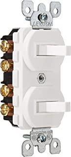Leviton 5243-W Duplex Toggle Switch With Grounding Screw, 120/277 Vac, 15 A, 1 P, White