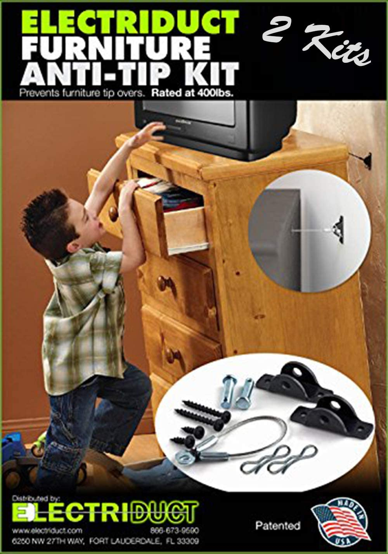 Furniture Anti-Tip Kit - 400 Pound Falling Furniture Prevention Device - 2 Pack
