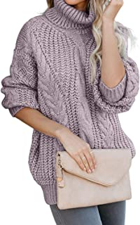 Womens Turtle Cowl Neck Solid Color Soft Comfy Cable Knit Pullover Sweaters S-XL
