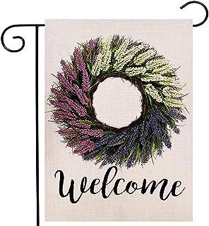 مرحبا بكم إكليل اللافندر حديقة العلم عمودي مزدوج الجانبين الصيف الزهور العلم ساحة الديكور الخارجي 12.5 × 18 بوصة