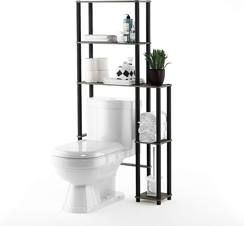 Furinno Turn-N-Tube Toilet Space Saver with 3 Shelves 99763GYW//BK 1 Pack