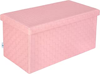 B FSOBEIIALEO Folding Storage Ottoman, Faux Leather Footrest Stool Long Bench, Pink 30