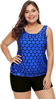 Womens Plus Size Racerback Tankini Set Two Piece Swimwear with Boyshort