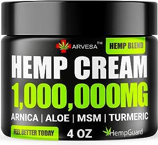 Hemp P??n R?lief Cream - 1,000,000 - Made in USA - 4OZ - R?lieves Muscle, Joint P??n - Lower Back P??n - Hemp Oil Extract with MSM - EMU Oil - Arnica - Turmeric