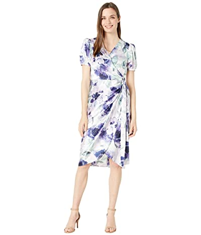 Tahari by ASL Printed Stretch Satin Side Tie Dress with Puff Sleeve Detail