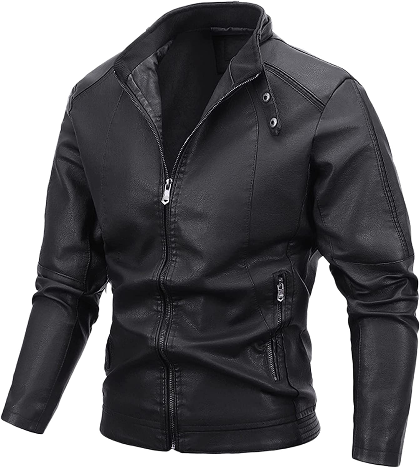 Men's Casual Stand Collar PU Faux Leather Zip-Up Motorcycle Bomber Jacket