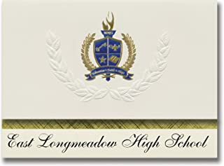 Signature Announcements East Longmeadow High School (East Longmeadow, MA) Graduation Announcements, Presidential Elite Pack 25 with Gold & Blue Metallic Foil seal