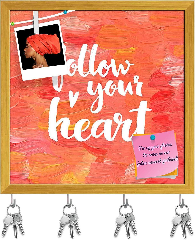 Artzfolio Follow Your Heart D4 Key Holder Hooks   Notice Pin Board   golden Frame 16.1 X 16Inch