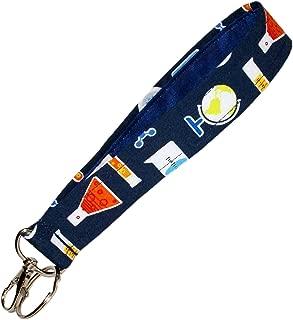 Science Keychain - Globe - Test Tube - Beaker - Key Fob - Geek - Nerd - Teacher Accessories - 6 Inch Loop - Purse or Wallet Strap