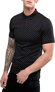 Mens Short Sleeve Golf Polo Shirts Cotton Casual Polka Dot T Shirt