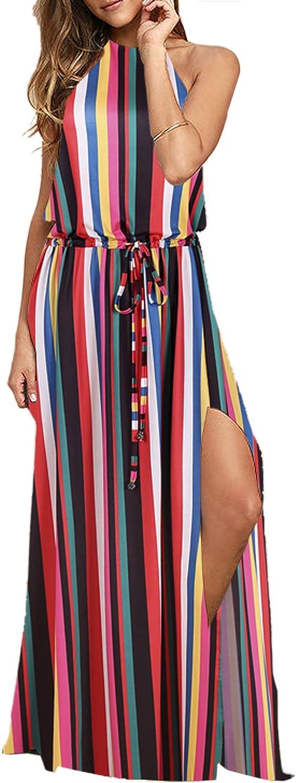 Blooming Jelly Women's Halter Backless Tie Back Drawstring Waist Tie Dye Split Summer Vacation Maxi Dress