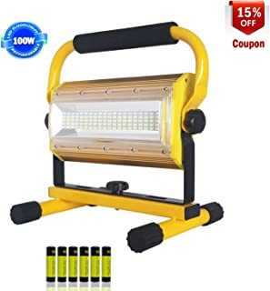 Rechargeable LED Work Light,XQOOL 100W Super Bright Waterproof Flood Light Portable Work Lights with Stand for Camping Garage Workshop Construction Site Repairing Job Site Light (Yellow)