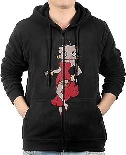 JLJK Men's Black Betty Boop Full Zip Sweatshirt Jackets Black