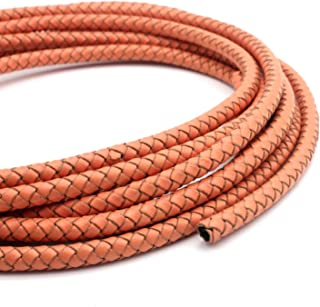 shapesbyX 3 Yards 6mm Braided Leather Cord Round Folded Leather Strap Jewelry Making Bracelet Beading (6mm, Coral)