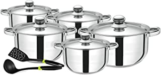 Royalford RF9350 Cookware Set of 12 Pieces, Silver, Stainless Steel