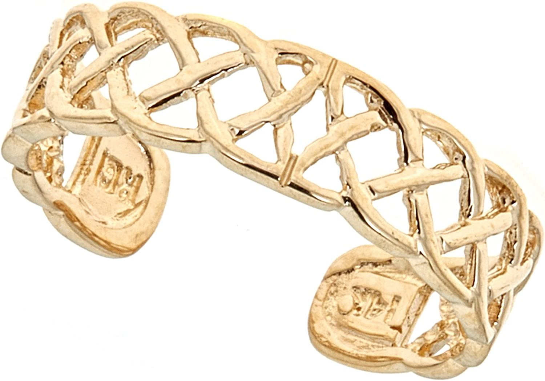 Ritastephens 14k Solid Gold Toe Ring Body Art Adjustable (Yellow or White)