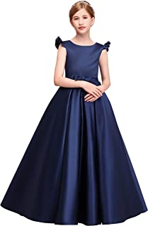 Girls Navy Sabrina Neck Sleeveless Princess Long Evening Prom Party Dress for Occasion
