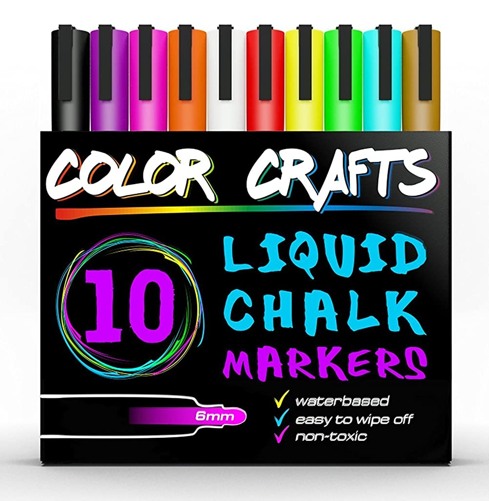 Liquid Chalk Markers - Set of 10 Reversible Tip Paint Pens Vivid Bright Neon Colors and White , 6mm Dual Tip