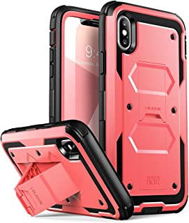 i-Blason Case Designed for iPhone X/iPhone Xs, [Armorbox V2.0] [Built in Tempered Glass Screen Protector][Full Body] [Heavy Duty Protection][Kickstand] Shock Reduction Case (Pink)