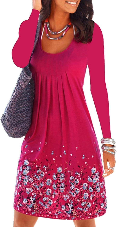 MAXIMGR Women's Casual Loose Floral Mini Print Pleated Long Sleeve ALine Beach Dress