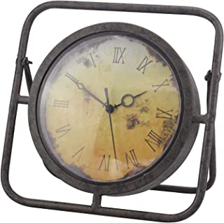 Stоnеbriаr Home Decor 10 Inch Decorative Rustic Metal Table Top Clock with Roman Numerals and Easel, Industrial Home Decor, Sweep Second Hand, for Mantel, Shelf, or Any Table Top, Battery Operated