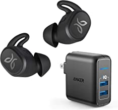 Jaybird Vista Truly Wireless Bluetooth in-Ear Sport Headphones Bundle with Anker 2-Port Wall Charger - Black